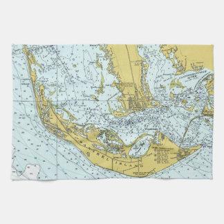 Vintage map of Sanibel Island, Florida Tea Towel