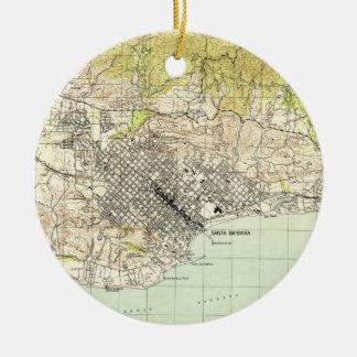 Vintage Map of Santa Barbara California (1944) Christmas Ornament