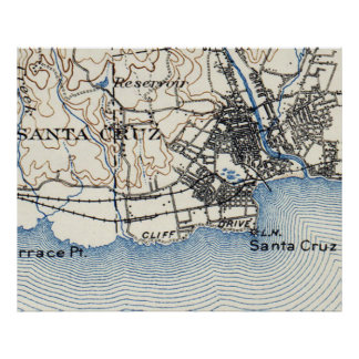 Vintage Map of Santa Cruz California (1899) Poster