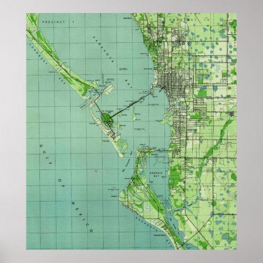 Vintage map of Sarasota Florida (1944) Poster