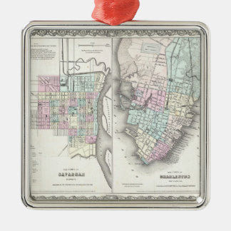 Vintage Map of Savannah and Charleston (1855) Christmas Ornament