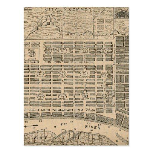 Vintage Map of Savannah Georgia (1818) Post Cards