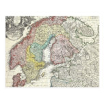 Vintage Map of Scandinavia (1730) Postcards