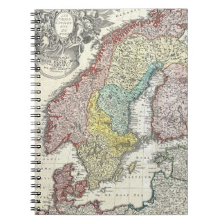 Vintage Map of Scandinavia (1730) Spiral Notebook