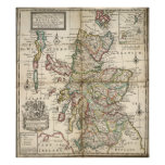 Vintage Map of Scotland (1718) Poster