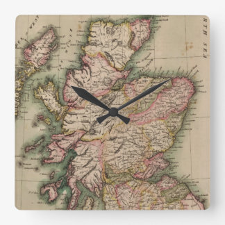 Vintage Map of Scotland (1814) Square Wall Clock