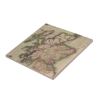 Vintage Map of Scotland (1814) Small Square Tile