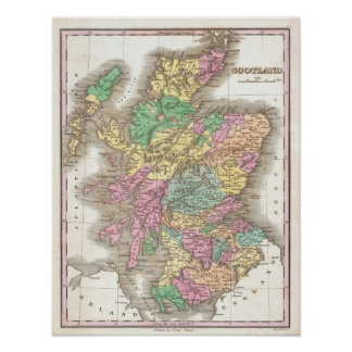 Vintage Map of Scotland (1827) Poster