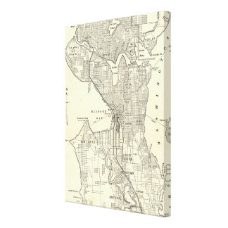 Vintage Map of Seattle (1914) Canvas Print