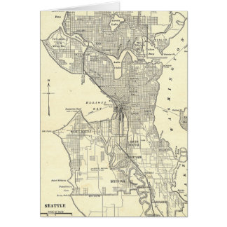 Vintage Map of Seattle (1914) Card