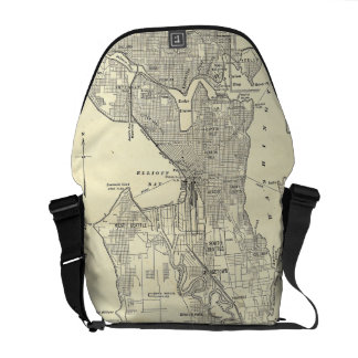 Vintage Map of Seattle 1914 Messenger Bags