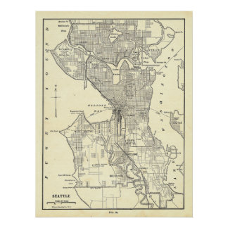 Vintage Map of Seattle (1914) Poster