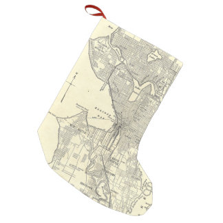 Vintage Map of Seattle (1914) Small Christmas Stocking