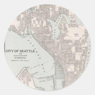 Vintage Map of Seattle Washington (1901) Classic Round Sticker