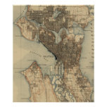 Vintage Map of Seattle Washington (1908) 2 Poster