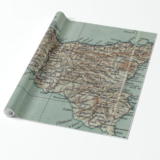 Vintage Map of Sicily Italy (1911) Wrapping Paper