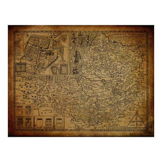 Vintage Map of Somerset Wessex England UK 1610
