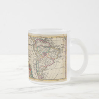 Vintage Map of South America (1747) Frosted Glass Coffee Mug