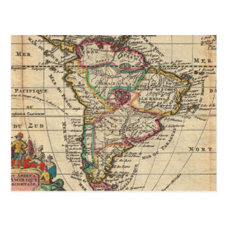 Vintage Map of South America 1747 Post Card