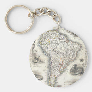Vintage Map of South America (1850) Key Ring