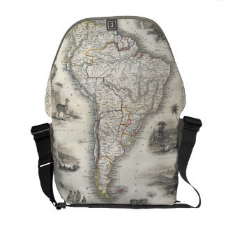 Vintage Map of South America 1850 Courier Bag