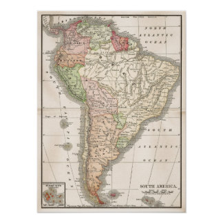 Vintage Map of South America Poster