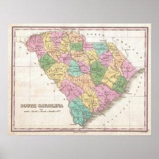 Vintage Map of South Carolina (1827) Print