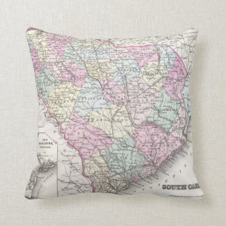 Vintage Map of South Carolina (1855) Cushion
