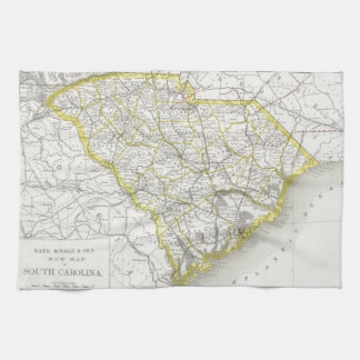 Vintage Map of South Carolina (1889) Tea Towel