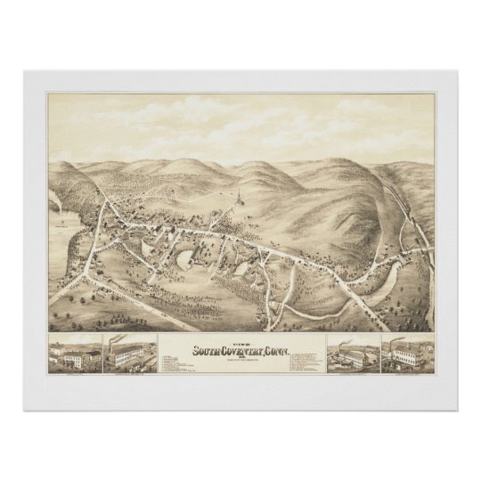 Vintage map of South Coventry, CT from 1878