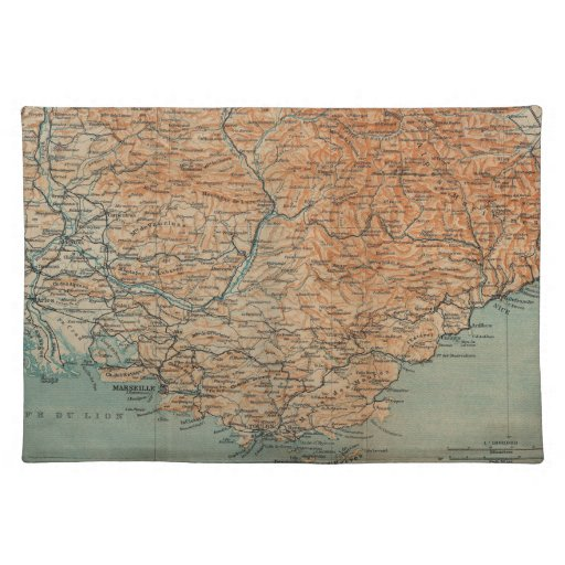 Vintage Map of Southern France (1914) Place Mat