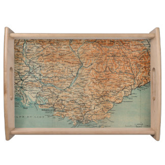 Vintage Map of Southern France (1914) Serving Tray