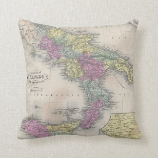 Vintage Map of Southern Italy (1853) Cushion