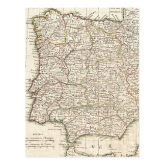 Vintage Map of Spain (1775) Postcard