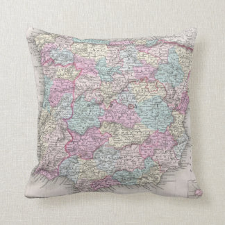 Vintage Map of Spain (1855) Cushion