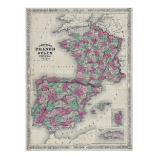 Vintage Map of Spain and France (1865) Poster