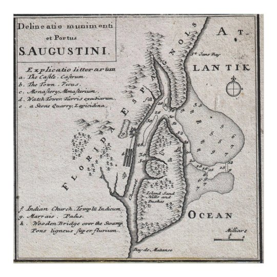 Vintage Map of St. Augustine Florida (1737) Poster