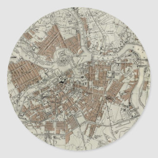 Vintage Map of St Petersburg (1893) Round Sticker