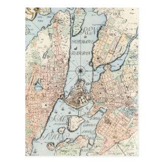 Vintage Map of Stockholm (1733) Postcards