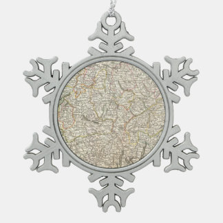 Vintage Map of Switzerland (1771) Pewter Snowflake Decoration