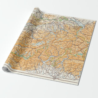 Vintage Map of Switzerland Wrapping Paper