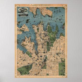 Vintage Map of Sydney Australia (1922) Poster
