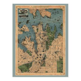 Vintage Map of Sydney Postcard