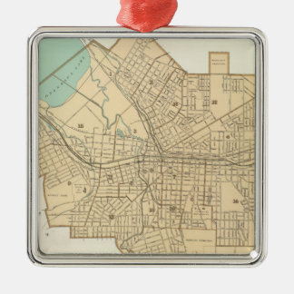 Vintage Map of Syracuse New York (1895) Silver-Colored Square Decoration