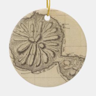 Vintage Map of Tahiti (1773) Christmas Ornament
