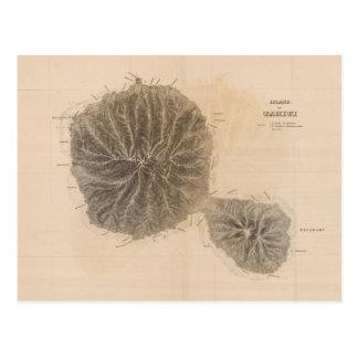 Vintage Map of Tahiti (1845) Postcard