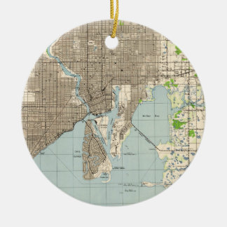 Vintage Map of Tampa Florida (1944) Christmas Ornament