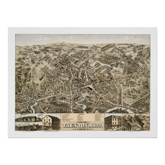 Vintage map of Taunton, Mass from 1875 Poster