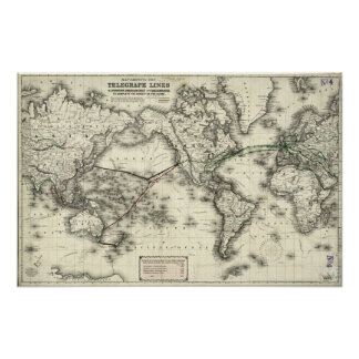 Vintage Map of Telegraph Lines Poster