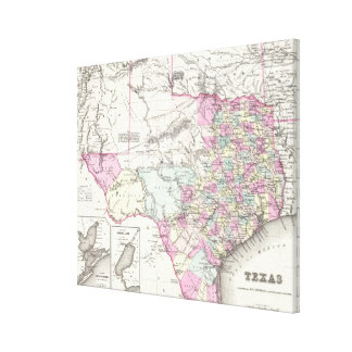 Vintage Map of Texas (1855) Canvas Print